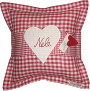 personalisiertes Kissen Herz rot