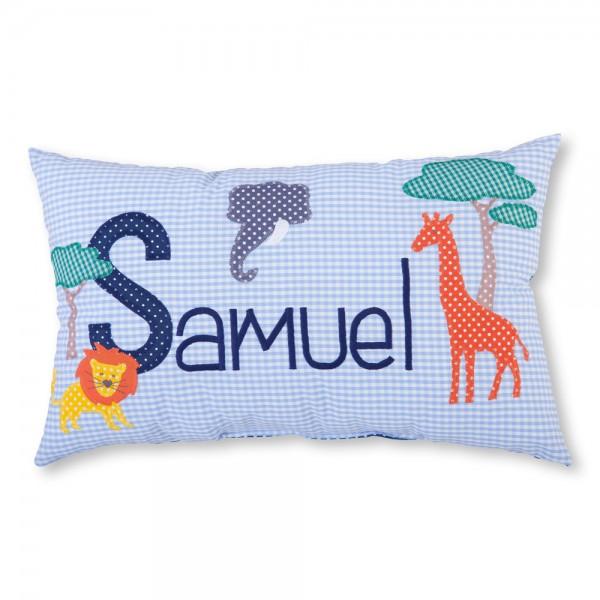 crepes suzette Kissen mit Name Samuel blau Tiere