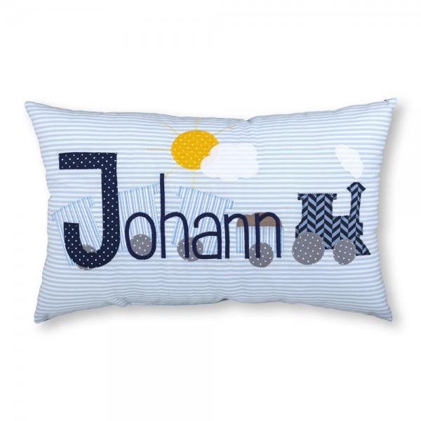 crepes suzette Kissen mit Name Johann hellblau Eisenbahn