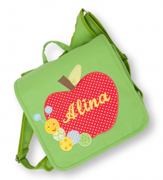 Kindergartentasche grün Alina Apfel
