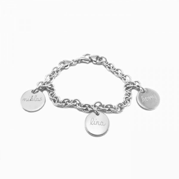 Pelina Bijoux Armband 3 Anhänger silber