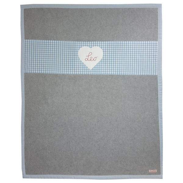 personalisierte Babyfleecedecke grau Herz hellblau
