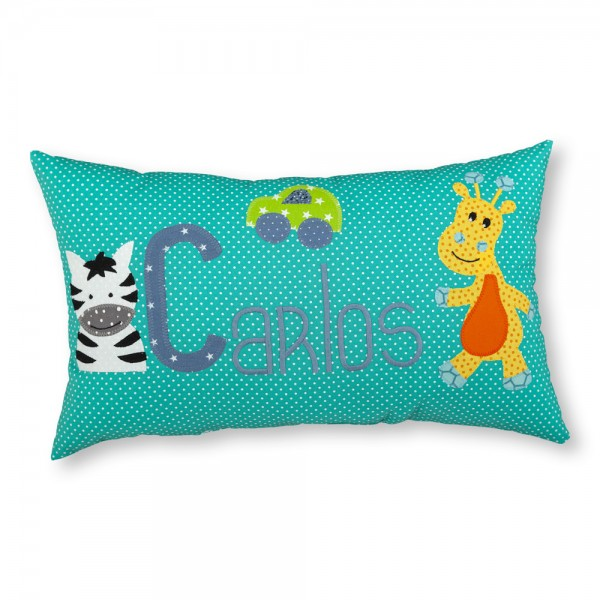 crepes suzette Kissen mit Name Carlos Giraffe türkis