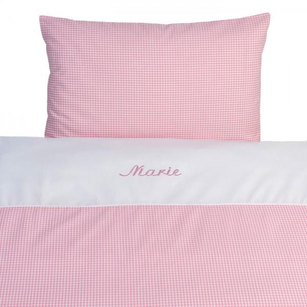 lakaro - Kinderbettwäsche Nostalgie Vichy Karo rosa mit Namen