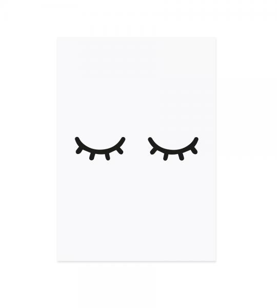 Eulenschnitt - Postkarte Müde Augen schwarz