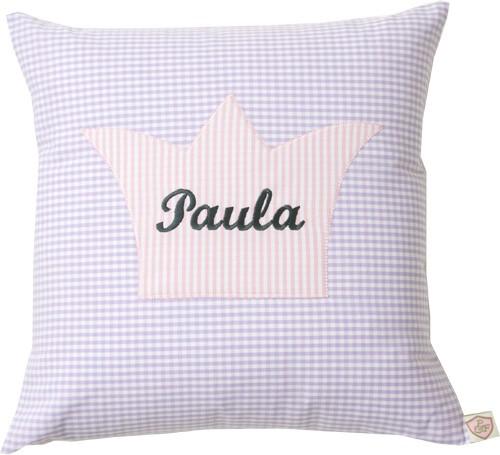Paula & Ferdinand Namenskissen Krone flieder/rosa