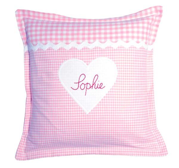 personalisiertes Kissen Herz 30x30 rosa