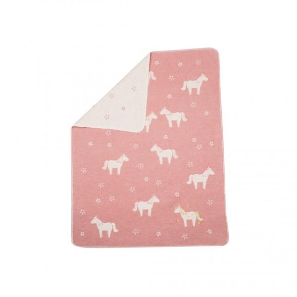 David Fussenegger - Babydecke Einhorn rosa mit Stick
