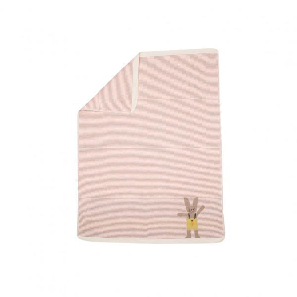 David Fussenegger - Babydecke Hase Streifen rosa