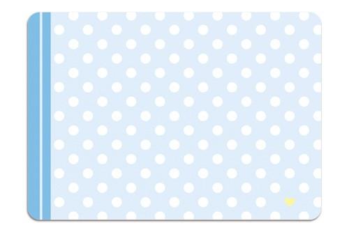 Minipunkt Postkarte hellblau mit weißen Punkten