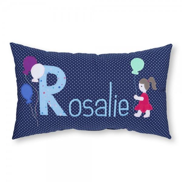 crepes suzette Kissen mit Name Rosalie Luftballons blau