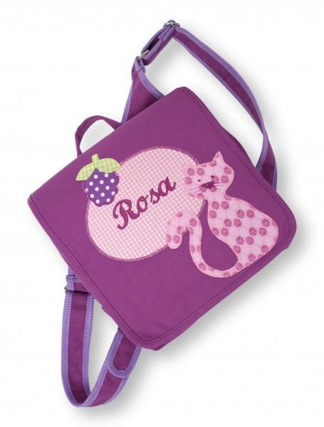 Kindergartentasche lila Rosa Katze