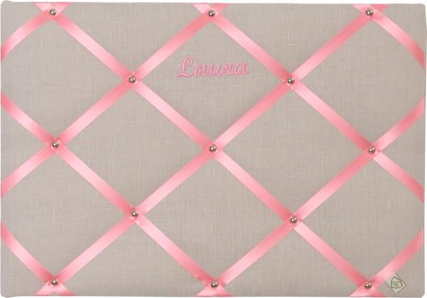 Memoboard Leinen grau/pink personalisiert