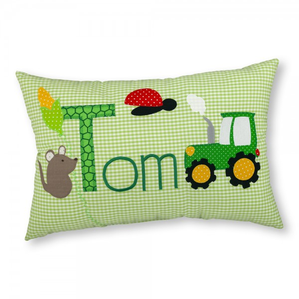 crepes suzette Kissen mit Name Tom grün Traktor