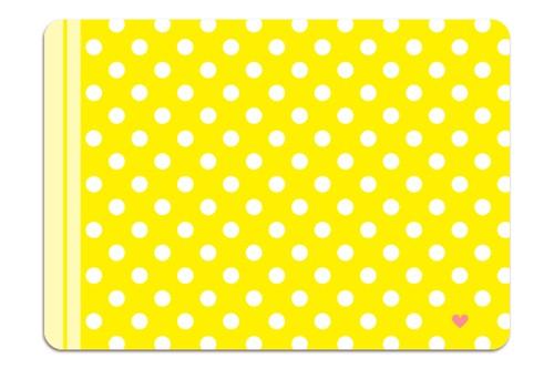 Minipunkt Postkarte gelb mit weißen Punkten