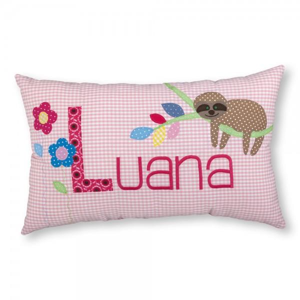 crepes suzette Kissen mit Name Luana Faultier rosa