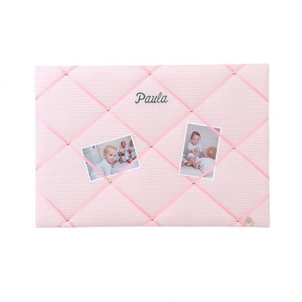 Memoboard Streifen rosa personalisiert