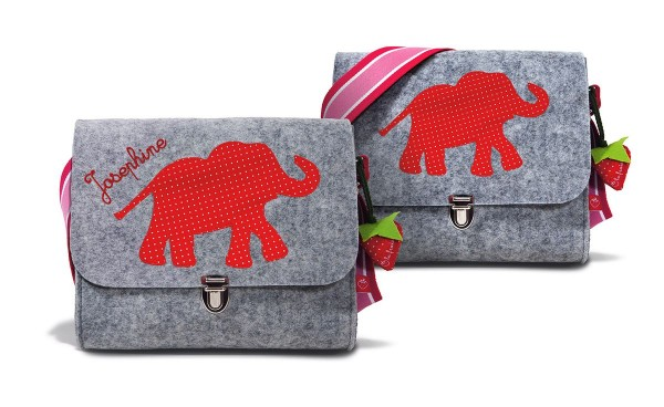 Filztasche Elefant rot mit Namen