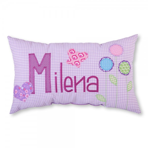 crepes suzette Kissen mit Name Milena lila Schmetterlinge