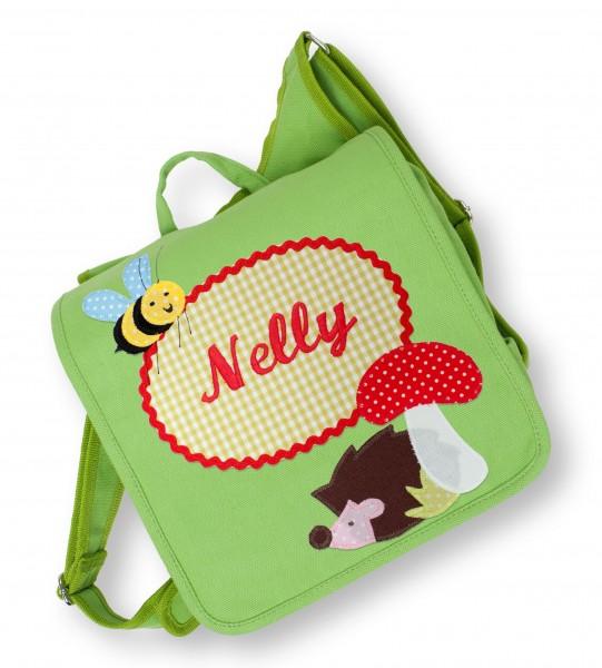 Kindergartentasche grün Nelly Igel