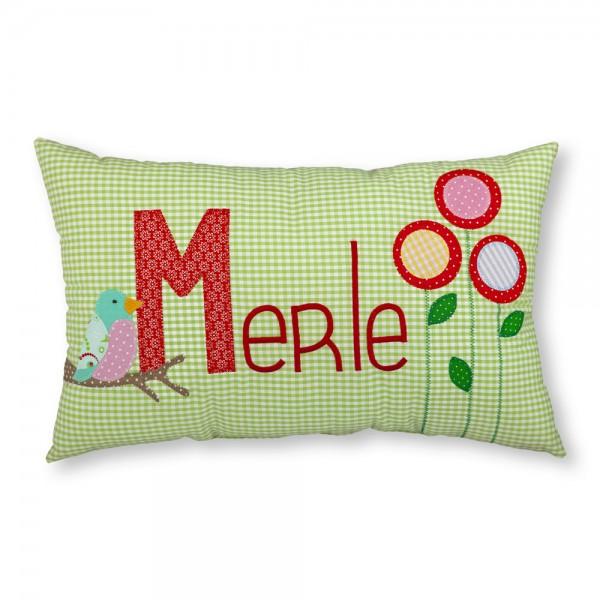crepes suzette Kissen mit Name Merle grün Vögel und Blumen