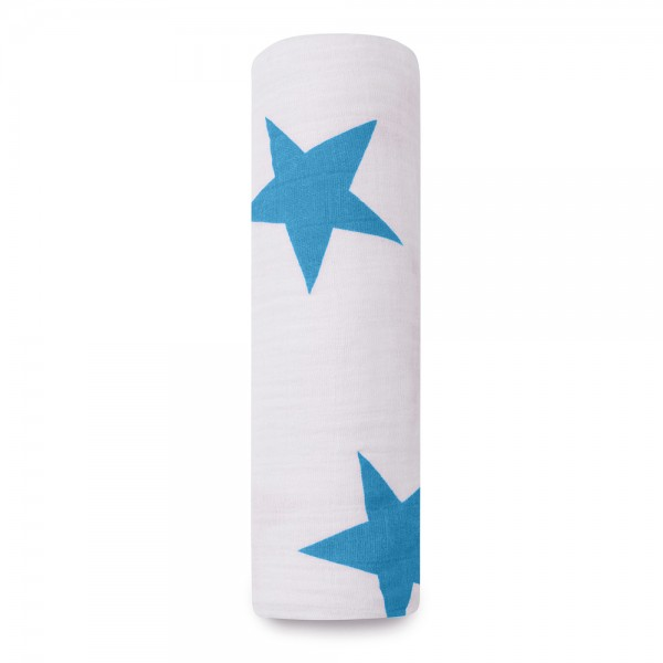 Mulltuch Swaddle Stern blau