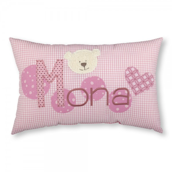 crepes suzette Kissen mit Name Mona rosa Bär