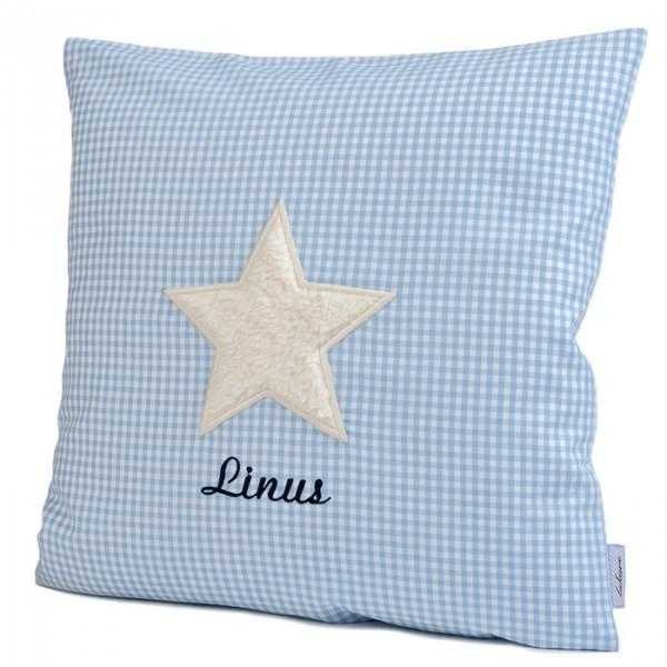 lakaro - Kissen hellblau Stern mit Namen