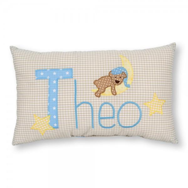 crepes suzette Kissen mit Name Theo beige Bär