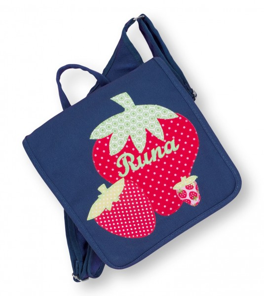 Kindergartentasche navy Runa Erdbeeren