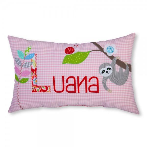 Kinderkissen mit Namen Faultier Luana rosa - crepes suzette