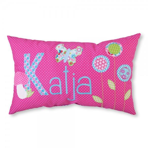 crepes suzette Kissen mit Name Katja pink Blumen und Vögel