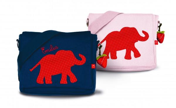 Kindergartentasche Elefant rot mit Namen