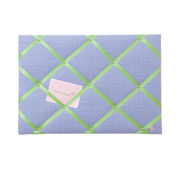 Memoboard Karo royalblau - apfelgrün personalisiert