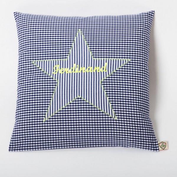 Kissen Stern blau - neon gelb personalisiert
