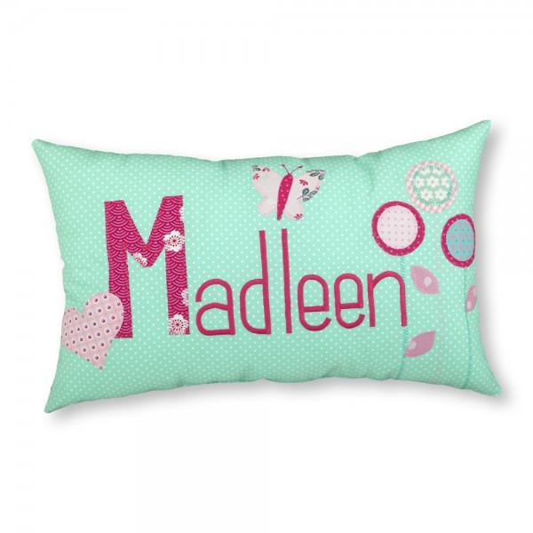 crepes suzette Kissen mit Name Madleen Blumen mint