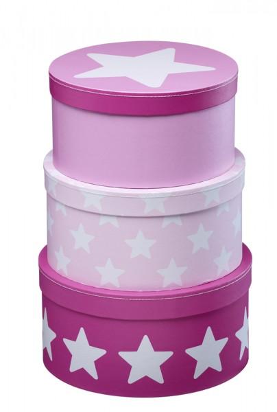 Pappboxen 3er Set rund pink