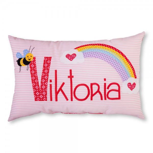 crepes suzette Kissen mit Name Viktoria rosa Regenbogen