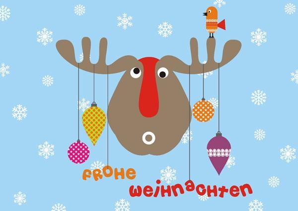 Postkarte Elch Frohe Weihnachten
