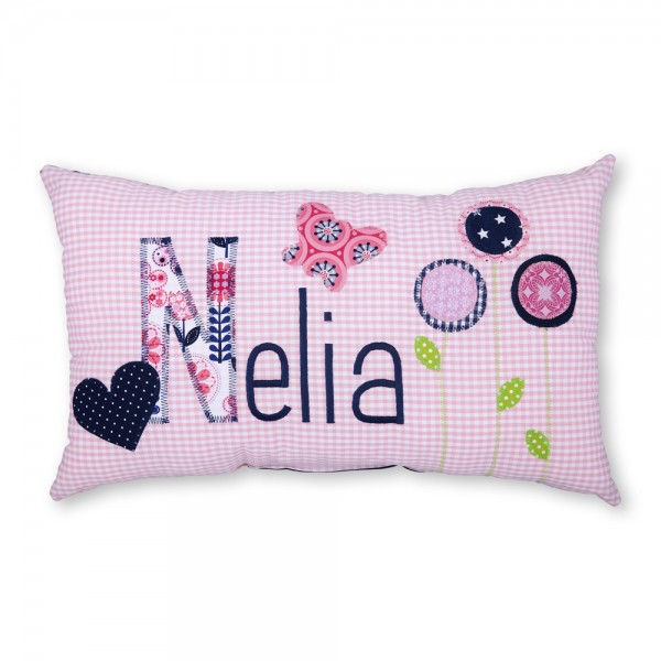 crepes suzette Kissen mit Name Nelia rosa Blumen