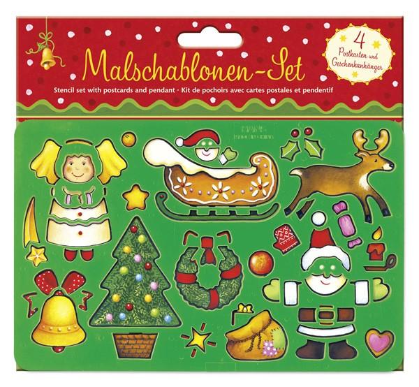 Schablonenset mit Postkarten Fröhliche Weihnachten