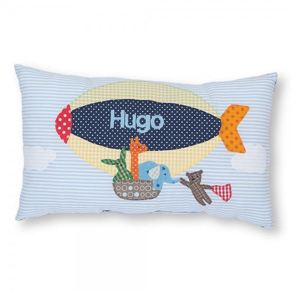 crepes suzette Kissen mit Name Hugo hellblau Zeppelin