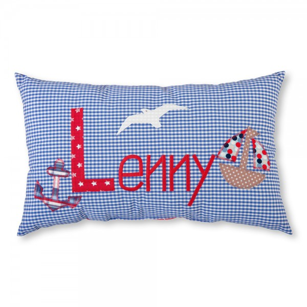 crepes suzette Kissen mit Name Lenny mittelblau Marine