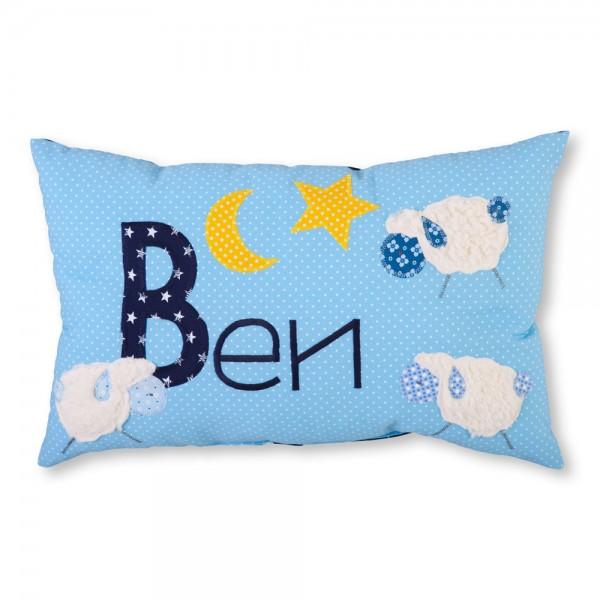 crepes suzette Kissen mit Name Ben blau Schäfchen