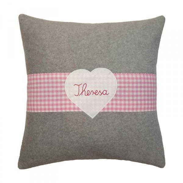 Kuschelkissen mit Namen Herz 40x40 rosa Fleece