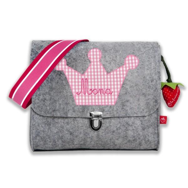 Filztasche Krone rosa mit Namen