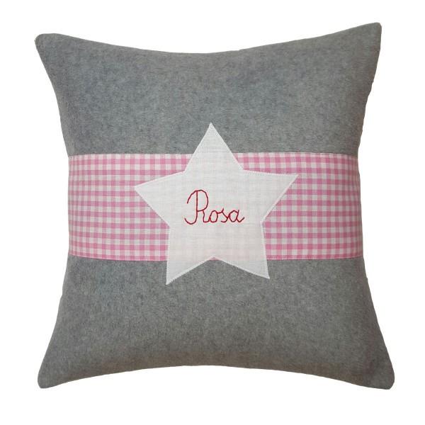 Kuschelkissen mit Namen Stern 40x40 rosa Fleece