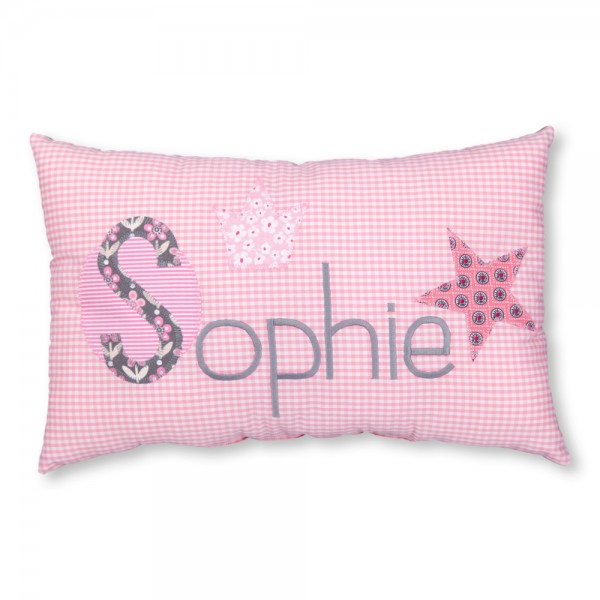 crepes suzette Kissen mit Name Sophie rosa Krone klassisch