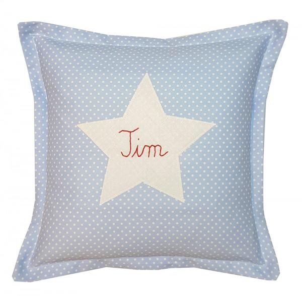 personalisiertes Kissen Stern 30x30 Punkte hellblau