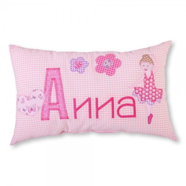 crepes suzette Kissen mit Name Anna rosa Ballerina